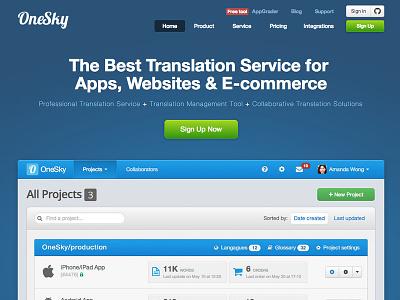 OneSky - New Landing Page landing app onesky translation