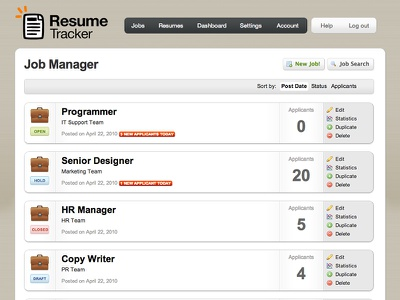 Job Management page web app ui business software user interface layout