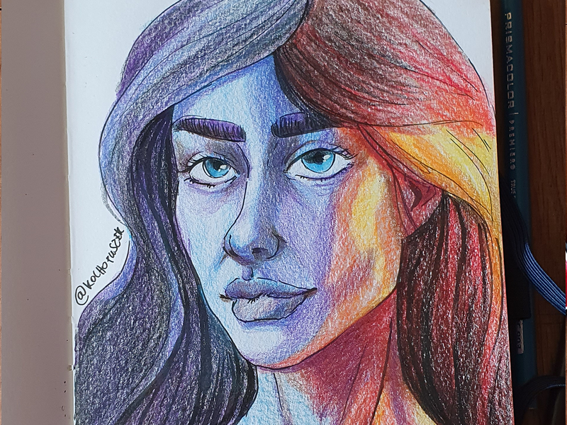 Neon Girl portrait pencil drawing pencil art prismacolor trafitional art drawing art illustration neon
