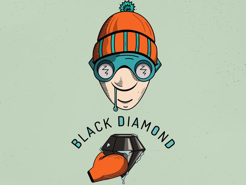 Black Diamond diamond logo diamond hat skiing orange gaming cartoonish t-shirt flat  design vector character illustration fun artwork design logo