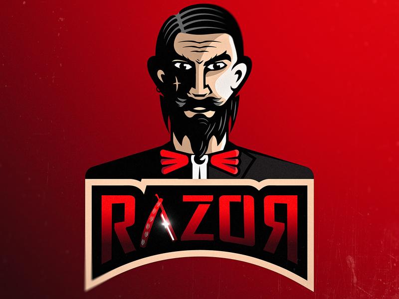 Mr. RAZOR black and red gamers razor esports mascot esports logo esports mascot character mascot design mascot logo mascot cartoonish vector character illustration flat  design logo artwork