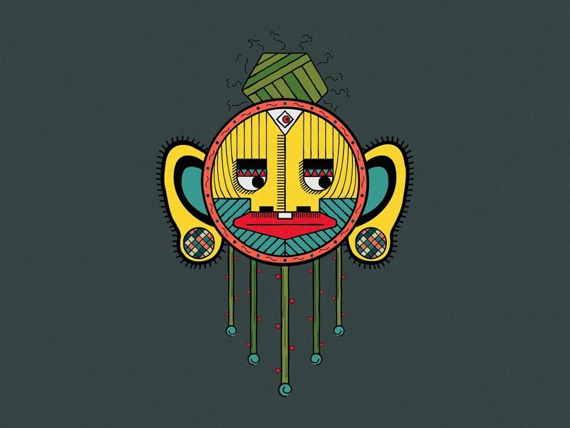 My Primitive Guy face vector design vector art playfull tribe primitives concept art colorful design logo character cartoonish fun vector illustration flat  design artwork 2d character 2d art 2d