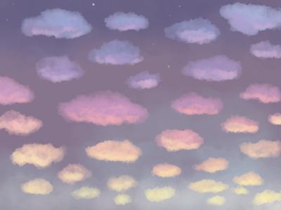 Sunset scenery aesthetic nature clouds sky illustrator digital art drawing illustration