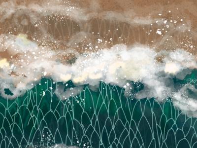 Early summer illustrator waves digital art photoshop illustration beach ocean