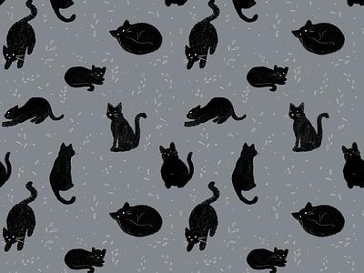 black cats pattern cute pattern creative spooky pattern halloween black cats clean pattern design pattern cute animal cats design sketches photoshop graphic design hand drawn illustration ink digital art drawing illustrator illustration