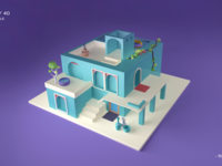 C4D building modeling exercise
