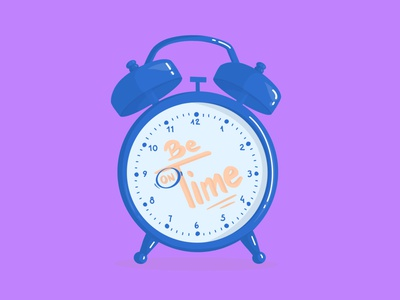 Be on Time homeoffice clean purple blue time clock minimal icon web vector illustration design