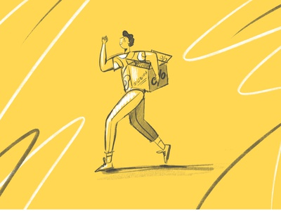 Running with box of discounts boy run art uiux yellow graphic design flat ui idenity brand character vectors illustration design