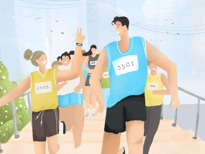 Marathon Run Illustration colour vector drawing run web flat ui blue brand branding design character illustraion graphic design