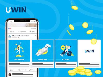 Bonus Program Facebook Ad blue flat identity brand character vectors uxui ui branding facebook ad logo graphic design design illustration