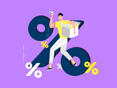 Running with discounts drawing 2d flat uiux identity brand graphic  design vector branding ux ui design character illustration
