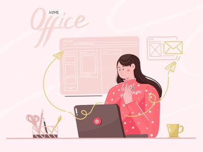 Home office designer and illustrator vector web minimal illustration drawing concept design character clean flat art abstract 2d 3d