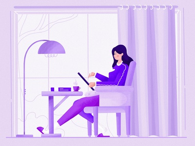 Procreate sketching at home 3d art ui web vector drawing minimal concept design clean character abstract 2d flat illustration