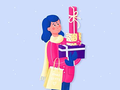 Christmas Gifts icon christmas ui design flat minimal clean web girl vectors drawing ui character design illustration