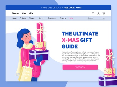 Christmas Online Shopping Gifts typography drawing clean vector minimal app christmas illustration character web design web uiux ux ui