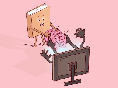 Battles over brain drawing concept graphic design brain tv books vectors art pink flat 2d 3d design illustration