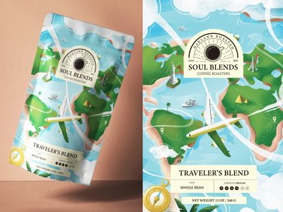 Coffee Package Continental Travel Blend minimal flat clean illustration product design landscape travel brand identity brand cafe package design package coffee