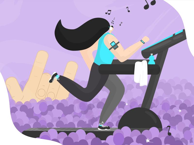 Escape woman illustration excercise woman purple rock concert train sport music loose treadmill run