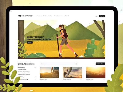 Top Aventures Webpage website webdesign grid logo climbing hiker girl illustrations digital tablet uxui ux webpage hike