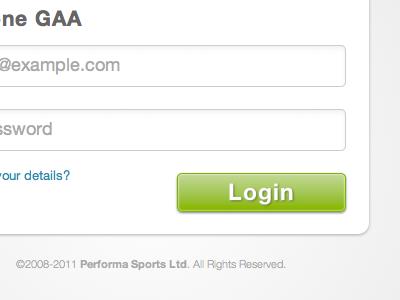 Login Form Refinement performa sports ui button login form
