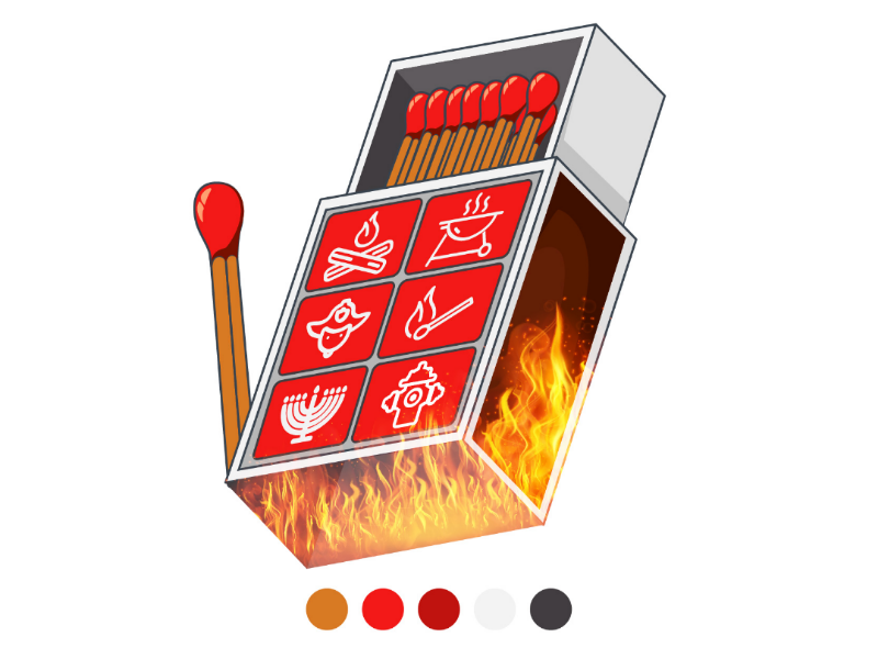 Matches and fire fire design icon match
