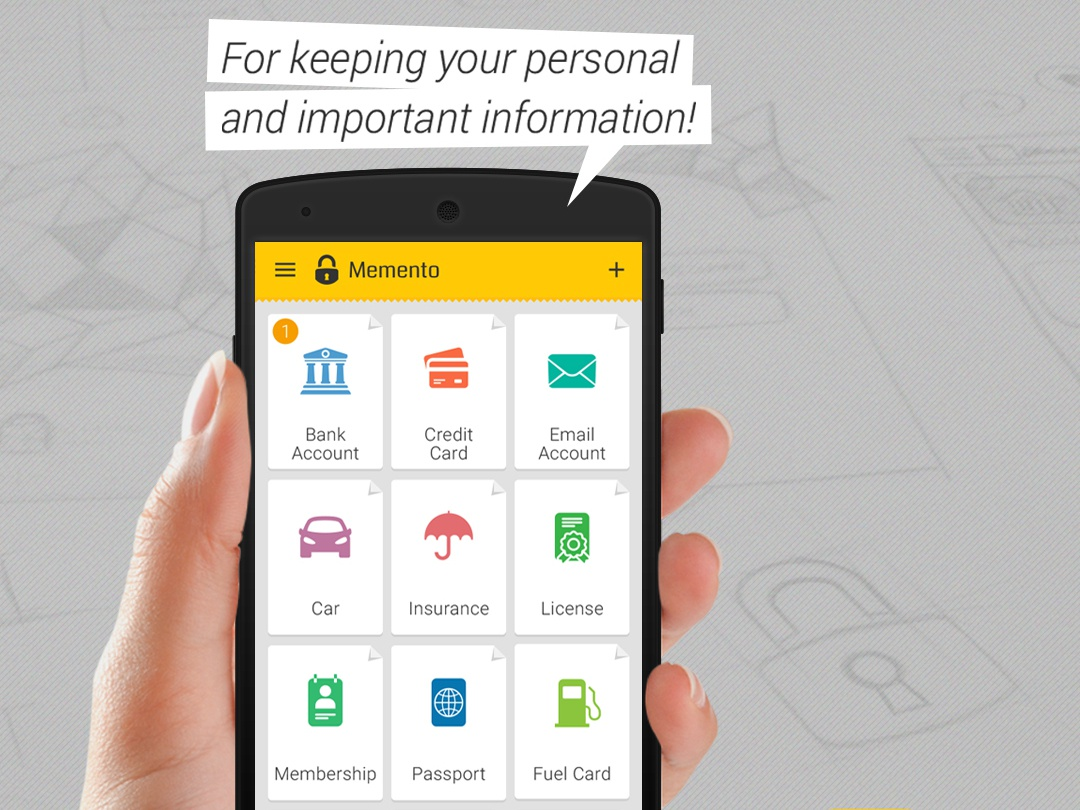 Memento -  Persoanl data keeper app design ux design ui design