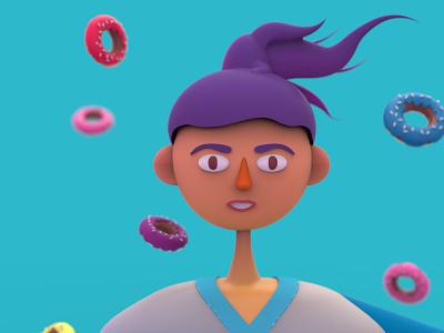 girl with donut illustration character woman face minimal keyshot render design character girls girl character cartoon character cartoon donut girl moi3d