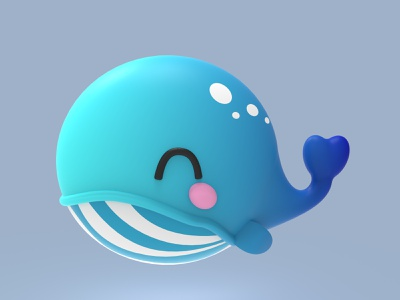 Kawaii whale illustration design mammal character cartoon characterdesign cute animal kawaii moi3d modeling 3d art keyshot render 3d whale