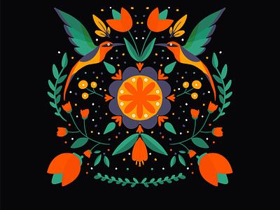 colibri folk art pattern design folklore fashion flat colibri bird illustration folkart flower design vector illustration illustration