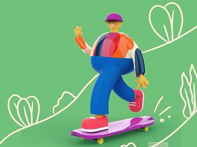 Let go! design 3d illustration man sport keyshot render moi3d 3d artist skateboard skater character design 3d art 3d illustration character