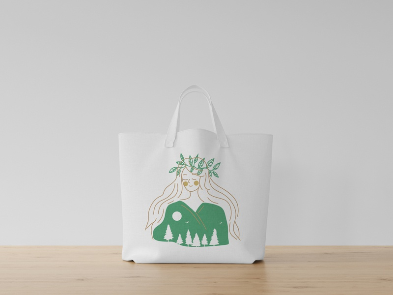 eco bag concept - Save Forest linework line art lineart womanillustration girlillustration purelinebeauty eco eco bag forest girl