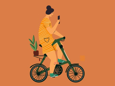 Strida  is love flower vector illustration illustration illustrator vector flat bicycling cartoon character characters womans girl illustration rider bicycle