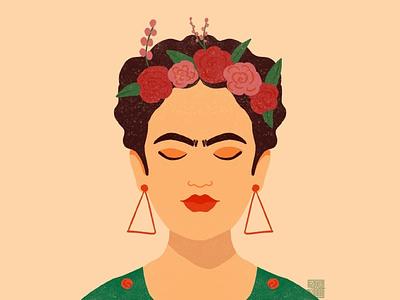 Frida onelove illustrator vector design girl flower woman flat vector illustration character illustration friday