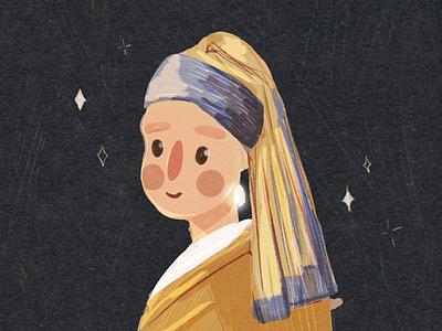 Girl with pearl earrings. Vermeer inspired illustration. illustrator woman illustration graphic character girl children illustration kids illustration museum of art girl illustration girl with pearl earring illustration art vermeer