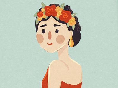 Cartoon little Frida Kahlo cartoon illustration cartoon character mexican girl illustration girl character kids illustration childrens illustration flower woman character illustration frida kahlo fridakahlo frida