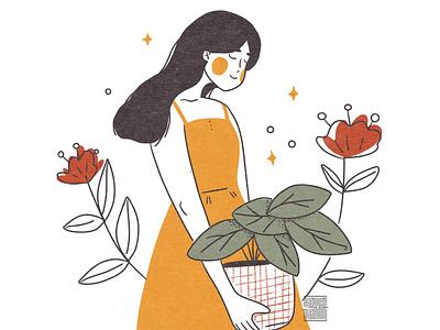 Selfie woman illustration plants plant illustration girl illustration girl character flower girl illustrator design vector illustration woman character illustration