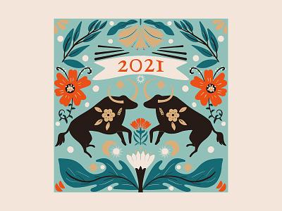 Year of the Ox design vector illustrator vector illustration character illustration pattern greeting card christmas year of the ox year of the bull bull ox new year