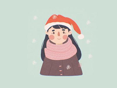 Seasons Greetings childrens illustration girl character vector illustration vector woman character illustration girl merry xmas new year winter