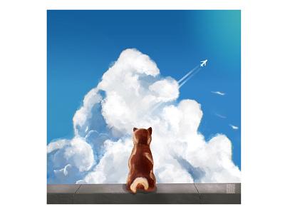 Dreaming shiba inu procreate illustration art dog illustration dreaming japan dog shibainu sky clouds dog design character illustration shiba inu
