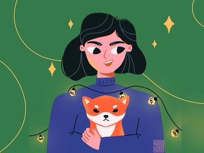 Love my dog ❤ character design 2d cute love friends dog woman flat character illustraion girl shiba dog illustration petlover shiba inu