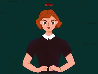 Queen's gambit girl chess girl power character design womanillustration queens gambit tvshow girl character procreate illustrator flat woman illustration