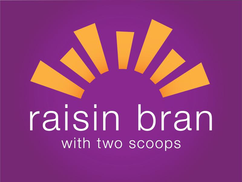 Raisin Bran Logo logo typography cereal sun chad musch two scoops