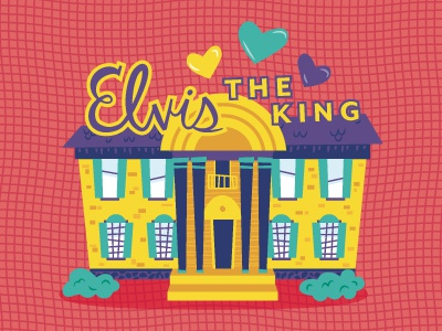 """""""Hail to the King, Baby"""" music lettering fun cute color building roadtrip tennessee graceland elvis vector illustration"""