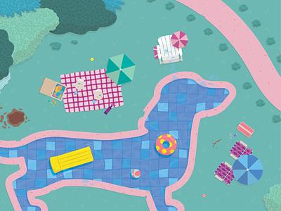 Hawt Dawg design summer pool vector fun color illustration