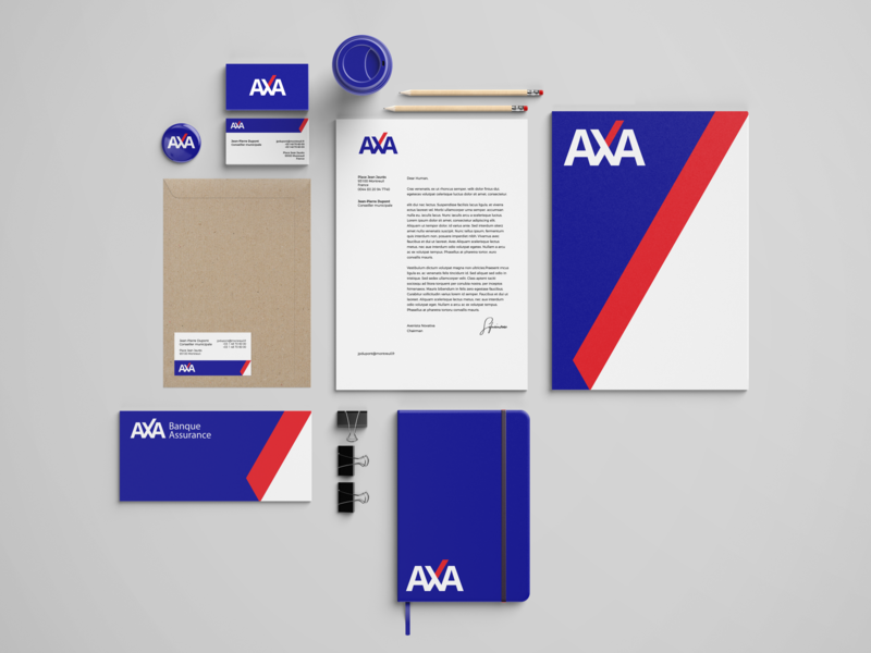 AXA's concept logo stationery redesign logo international graphic designer firm concept branding axa