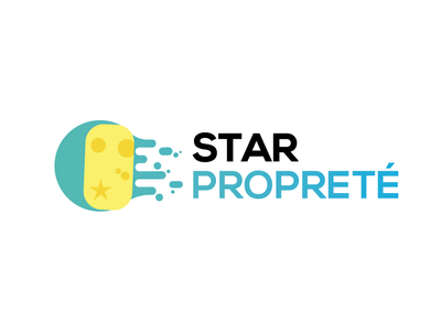 Cleaning Star's logo yellow star water sponge green logo graphic  design cleaning service cleaning company cleaning branding