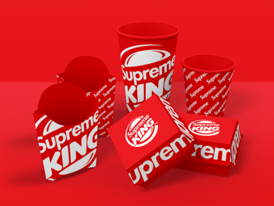 SUPREME KING ! clothing fastfood red fries burger cup burgerking collaboration concept brand supreme graphic  design logo branding