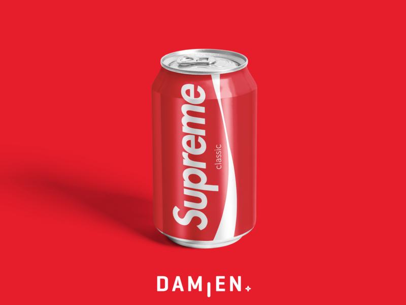 SUPREME CLASSIC ! supreme logo design graphic can soda can cup concept collaboration red soda drink cocacola coca branding brand