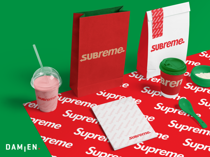 SUBREME ! logotype graphicdesign logo ice spoon coffee packaging bag food green supreme subway branding