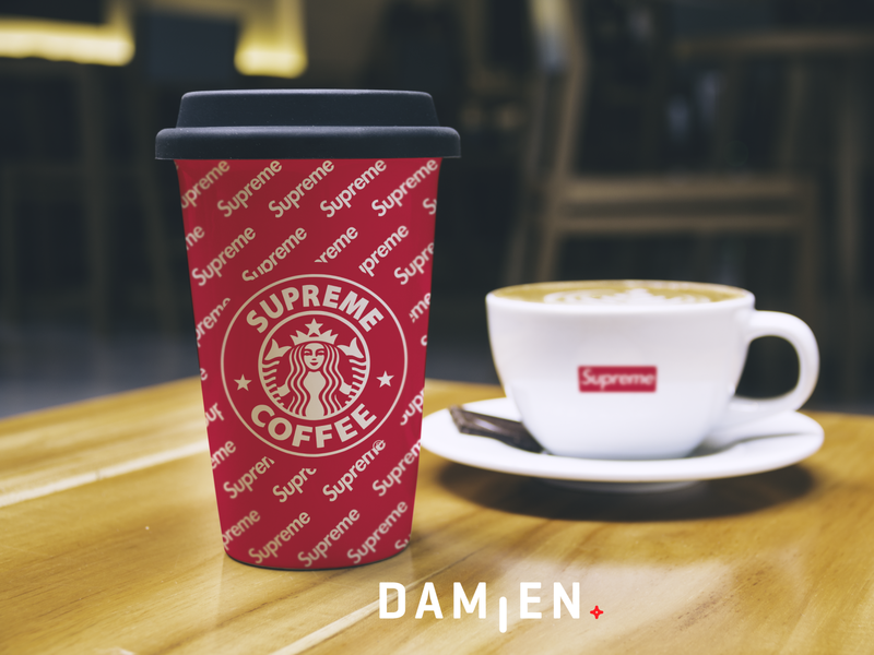 SUPREME COFFEE ! graphicdesign red packaging logo branding coffee cup coffee supreme starbuck